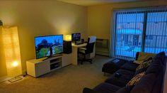 Show us your gaming setup: 2017 Edition - Page 3 - NeoGAF Living Room Gaming Setup, Computer Gaming Room, Living Room Update, New Living Room, Vr Room, Boys Game Room, Small Game Rooms, Living Room Tv Cabinet, Bedroom Setup