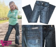 Cowgirl Tuff Company, Girl's Rhinestone Cowgirl Jeans, Youth Western Clothing, Kids Rodeo Pants, Little Cowpoke, $64.99, http://www.bunkhousewestern.com/grc_p/grc.htm