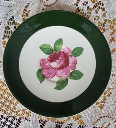 Excited to share the latest addition to my #etsy shop: Vintage Rhythm Rose Saucer, Taylor Smith by Taylor, Hunter Green Rim, Pink Rose in Center Creamy White Background, Replacement 1950s, http://etsy.me/2mTLmvO #housewares #green #housewarming #valentinesday #pink #go