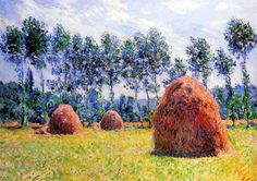 Stunning Oil painting Claude Monet - Haystack at Giverny impressionism landscape