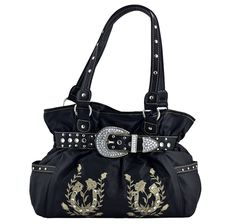 Women's Embroidered Horseshoes and Roses Belt Handbag