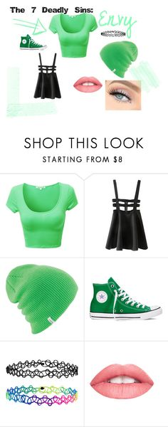 The 7 Deadly Sins: Envy by jade-blackwhiteandgreen on Polyvore featuring Converse, Accessorize and Coal