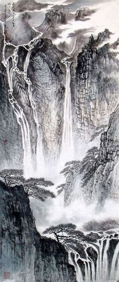 Chinese landscape paintings... love these vertical scrolls.