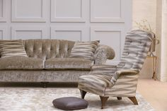 Hawthorne Chair in Argento Velvet Bronze with Button Foot Stool and Bloomsbury Sofa