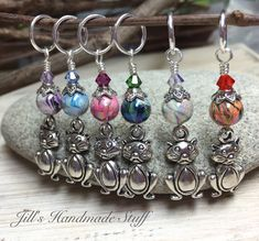 Big Belly Cats Stitch Markers- 6 Snag Free Beaded Knitting Markers- Gifts for Knitters- Tools- Supplies- Crochet Markers- Mother's Day Gift