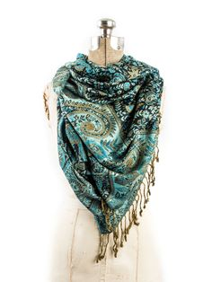 Prema, Reversible Cashmere Silk Pashmina Scarf, hand made in India