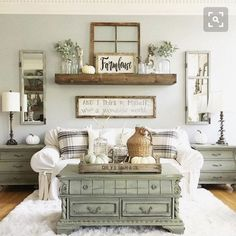 Mantel with old window over couch #rustichomedecor