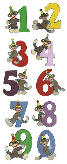 Birthday Sock Monkey Numbers Filled embroidery design set available for instant download at www.designsbyjuju.com