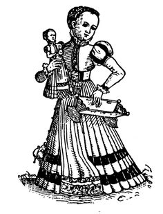 Illustration. YOUNG GIRL WITH DOLL AND DOLL'S CRADLE,  Woodcut by the artist using the monogram I.R., About 1540. From Dolls and Puppets, by Max Von Boehn, translated by Josephine Nicoll, page 8. Cooper Square Puhlishers, Inc., New York. 1966.