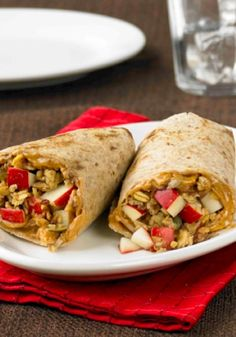 Peanut Butter Apple Wraps...these wraps are popular with both kids and adults. This recipe is a healthier option with apples, peanut butter and wheat flour tortillas! Eat them cold or slightly warmed.