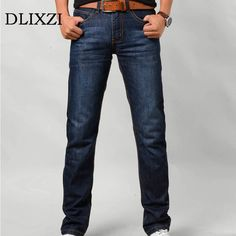 8ccfa67d8442b5 DLIXZI Brand Men Slim Fit Jeans Classic Straight Denim Trousers Male Summer  Casual Pants Mid Weight