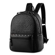 Gothic women leather backpack rattan feminine school bags for teenagers rucksack Leisure knapsack black backpacks travel 3S4154