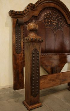 This Mediterranean Bed is a one-of-a-kind, Demejico classic. Made from mesquite wood, tooled leather, and accented with iron straps and pounded iron clavos. Western Furniture, Unique Furniture, Rustic Furniture, Bedroom Furniture, Bedroom Decor, Cabin Furniture, Furniture Design, Leather Bed, Leather Tooling