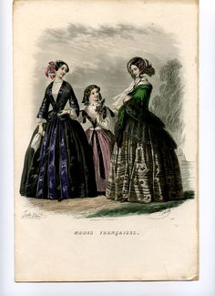 XIX Century - Unknown Source - Fashion Plate, circa 1851 - A beautiful hand-colored engraving from Modes Françaises, No. 329. With two walking women and a girl. The black side of the right lady is depicted in great detail. -   Artists: Reville, Jules David