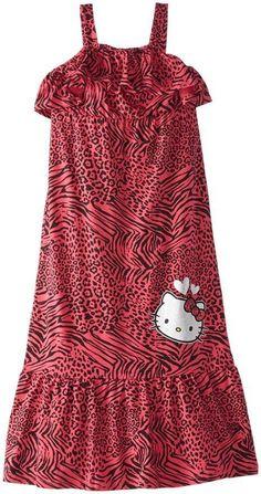 HELLO KITTY Toddler Girl 2T Animal Print Foil Applique Ruffle Maxi Dress Fuchsia