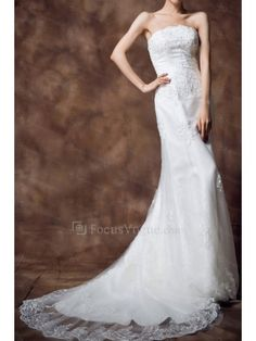 Satin Strapless Chapel Train Sheath Wedding Dress with Sequins