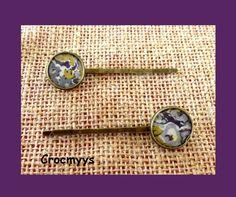 Barrettes rétros liberty tatum violet : Accessoires coiffure par crocmyys