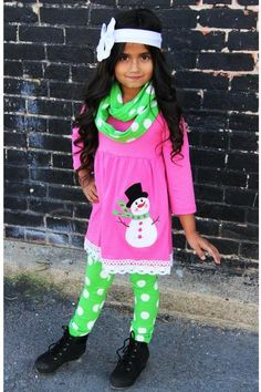 Hot Pink & Lime Green Snowman 3pc Scarf Set - Sparkle in Pink