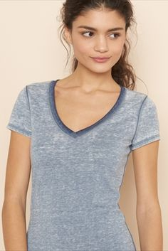 Ringer Burnout V-Neck Tee