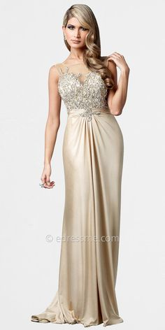 Gold Illusion Neck Empire Ball Gowns by Terani Couture