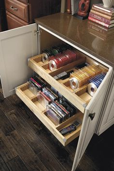 Keep your movies and music organized with a CD and DVD insert that fit right into various widths and depths of sliding shelving.