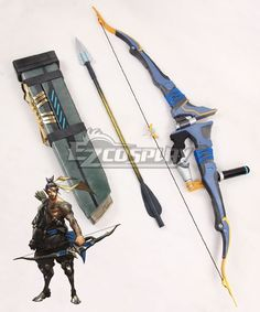 Pls email us if you need the costume, wig, shoes, weapon or other accessories of this character.  Email address: Ezcosplay@gmail.com Overwatch OW Hanzo Shimada Bow and arrow Cosplay Weapon Prop - ECW0780