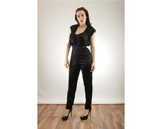 1980s Black and Metallic Blue Jumpsuit XS Extra by BGSvintage
