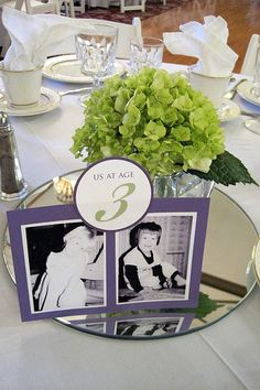 This is such a cute idea! Pictures of the couple at that age- use as table numbers. Do I need to start finding pictures of us to use... ?