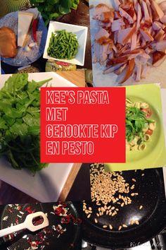Pasta gerookte kip en groene pesto  Ingrediënten: Pesto (voorkeur vers basilicum/pijnboompitten/parm kaas/olijfolie/knoflook) Gerookte kip in reepjes , knoflook, spaanse peper fruiten in olijfolie. Pesto er doorheen. Pasta koken m sperziebonen. Cherrytomaten door pesto mengsel. Alles door elkaar roeren. Rucola er overheen bij voorkeur...
