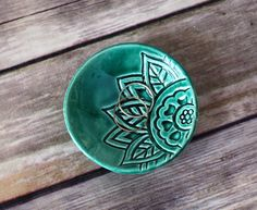 Ring Dish in Emerald Green  Handmade Ring Holder by BoulderDesign