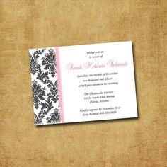 Printable Bridal Shower Invitation - Custom Damask Bridal Shower, Wedding Shower, Couples Shower, Engagement Party on Etsy, $12.00