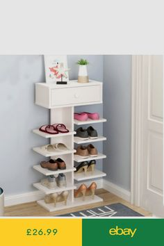 135608464db 5 Tier Shoe Rack Shelf Organizer Footwear Storage Unit with 1 cabinet  Wooden UK