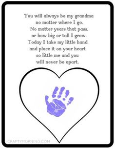 Printable Mother's Day gift idea for grandma - kids handprint craft idea