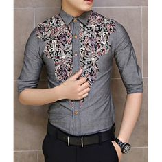 Fashion Style Turn-down Collar Floral Print Color Splicing Half Sleeves Men's Shirt, RED, XL in Shirts | DressLily.com