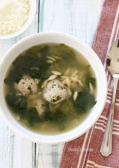 Escarole Soup with Turkey Meatballs (Italian Wedding Soup) - This recipe makes a lot, which makes it perfect to make ahead and freeze in portions for lunch or dinner for the month.  #weightwatchers
