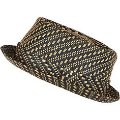Black woven straw pork pie hat #riverisland #RImenswear