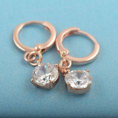 9k rose gold-filled CZ dangle hoop earrings, 26mm x 8.5mm (1 in stock)