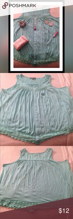 "PLUS SLEEVELESS BLOUSE Absolutely Famous brand mint color body 100% polyester & crochet 100% cotton sleeveless Pullover blouse with full crochet hem & faux button down front size 3XL. Underarm to underarm 25"" & length 24"" Re-Posh in EUC, never worn! Tops Blouses"