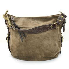 Coach Zoe Large Suede Leather Flint Brown Handbag Shoulder Bag Purse F0873 12672   eBay