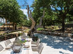 Atsipopoulo house rental - Enjoy your breakfast, read your favourite books or enjoy the cool summer breeze! Summer Breeze, Treehouse, Jacuzzi, Villa, Patio, Breakfast, Outdoor Decor, Holiday, Books