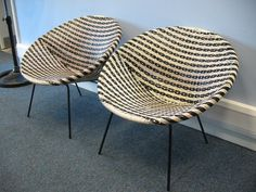 1960s woven plastic chairs - they nipped your bare legs!