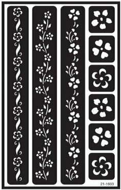 ArmourOver N Over Reusable Stencils 5 X 8 Flower Border Stencil Templates, Stencil Patterns, Stencil Designs, Henna Stencils, Stencil Art, Flower Stencils, Stenciling, Glass Etching Stencils, Metal Embossing