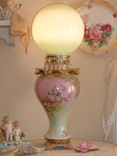 pink and green Gone With The Wind lamp