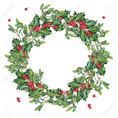 Wreath Of Green Christmas Holly Branches. Stock Photo, Picture And Royalty Free Image. Watercolor Christmas Cards, Christmas Card Crafts, Christmas Images, Christmas Art, Christmas Decorations, Xmas Wishes, Wreath Watercolor, Christmas Settings, Christmas Paintings