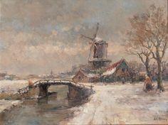 Wintergezicht met molen, olieverf 60-80 cm. Arnold Hendrik Koning schilderde het als twintiger. Ik heb de lokatie (nog) niet kunnen vinden, De omgeving Dordrecht zou kunnen, maar de beeldmotieven zijn misschien wel te klassiek bij elkaar gezet om naar de werkelijkheid te zijn gemaakt.