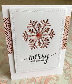 Cardmaker unknown. Uses snowflake die or punch and edger die.