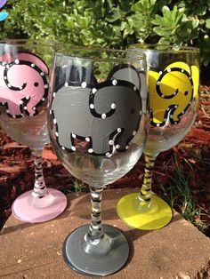 Gray Elephant Grey Elephant Painted Wine glass by classyetsassy