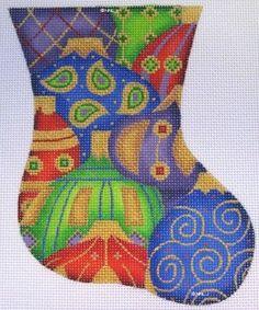 ACOD Mini Stocking Jewel Tone Christmas Balls handpainted HP Needlepoint Canvas