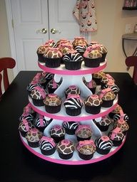 animal print cupcakes- great for a safari theme party