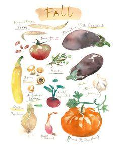 Vegetable prints Set of 4 prints Kitchen art by lucileskitchen